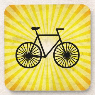 Black Bicycle; Yellow Background Beverage Coaster