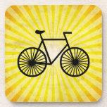 Black Bicycle; Yellow Background Beverage Coasters