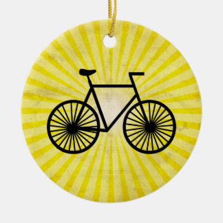 Black Bicycle; Yellow Background Ceramic Ornament