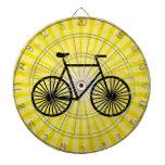 Black Bicycle; Yellow Background Dartboards