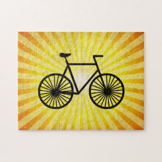 Black Bicycle; Yellow Background Jigsaw Puzzle