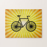 Black Bicycle; Yellow Background Jigsaw Puzzles