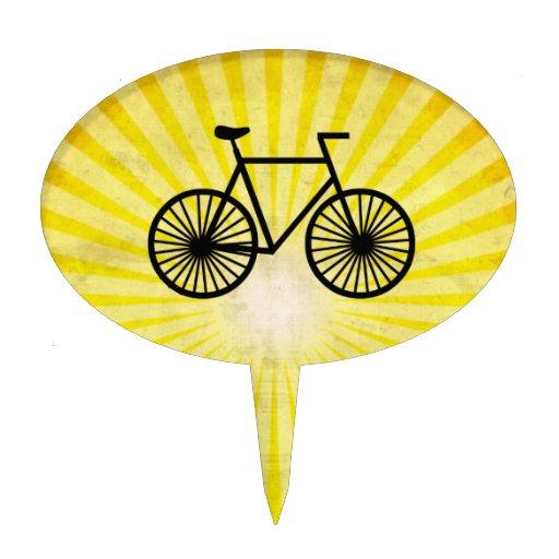 Black Bicycle; Yellow Background Oval Cake Picks