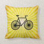 Black Bicycle; Yellow Background Throw Pillows