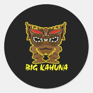 Black Big Kahuna Tiki God Classic Round Sticker