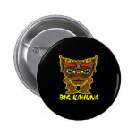 Black Big Kahuna Tiki God Pinback Buttons