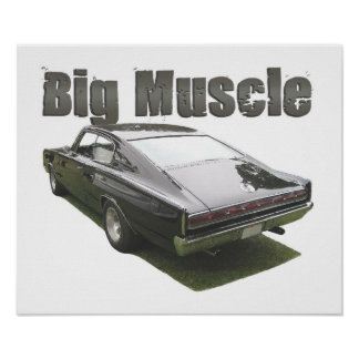 "Black ""Big Muscle"" 1967 Dodge Charger poster"