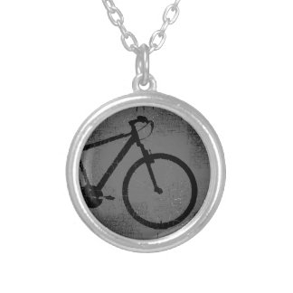 black bike in a circle silver plated necklace