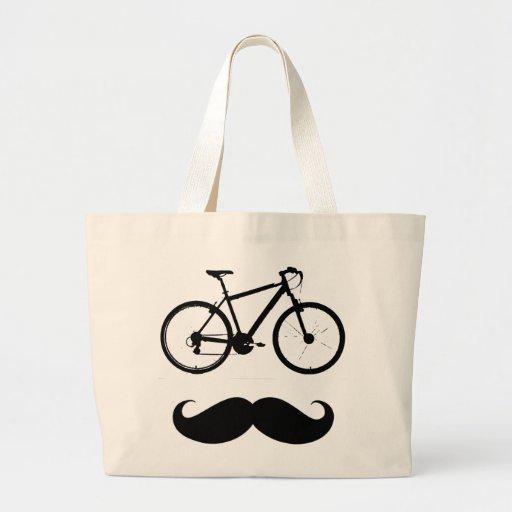 black bike moustache canvas bag