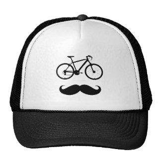 black bike moustache trucker hat