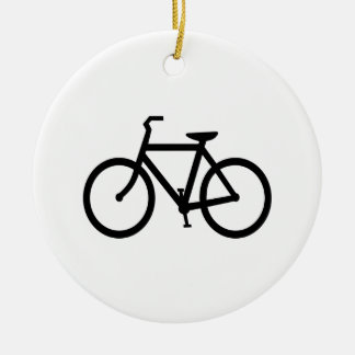 Black Bike Route Double-Sided Ceramic Round Christmas Ornament