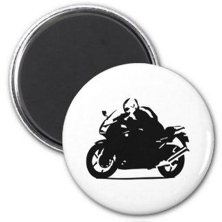 black biker icon motorcycle 2 inch round magnet