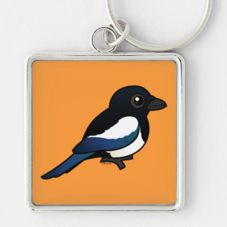 Black-billed Magpie Silver-Colored Square Keychain