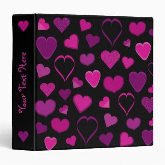 Black binder with pink & lilac cartoon hearts