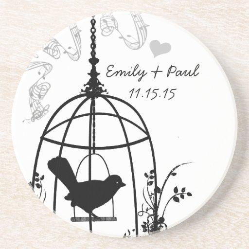 Black Bird Cage Vintage Love Bird Coasters