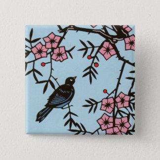 Black Bird Cherry Blossom Tree Button