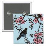 Black Bird Cherry Blossom Tree Buttons