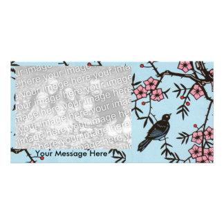 Black Bird Cherry Blossom Tree Photo Card