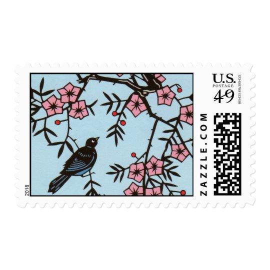 Black Bird Cherry Blossom Tree Postage
