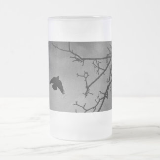 Black Bird Night Sky Frosted Glass Beer Mug