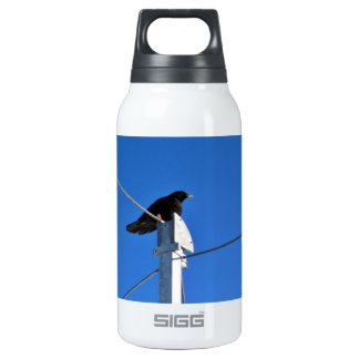Black bird on a post 10 oz insulated SIGG thermos water bottle