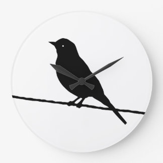 Black Bird On A Wire Large Clock