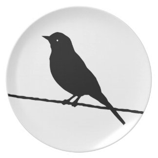 Black Bird On A Wire Party Plate