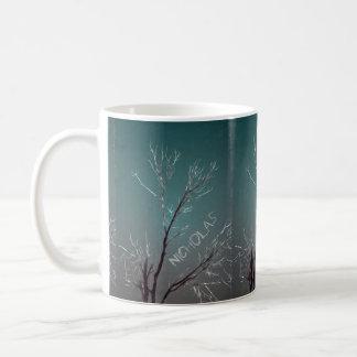 Black Bird on Branch with Purple and Pink Flowers Coffee Mug