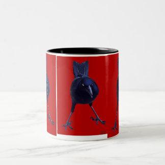 Black Bird On Red Two-Tone Coffee Mug