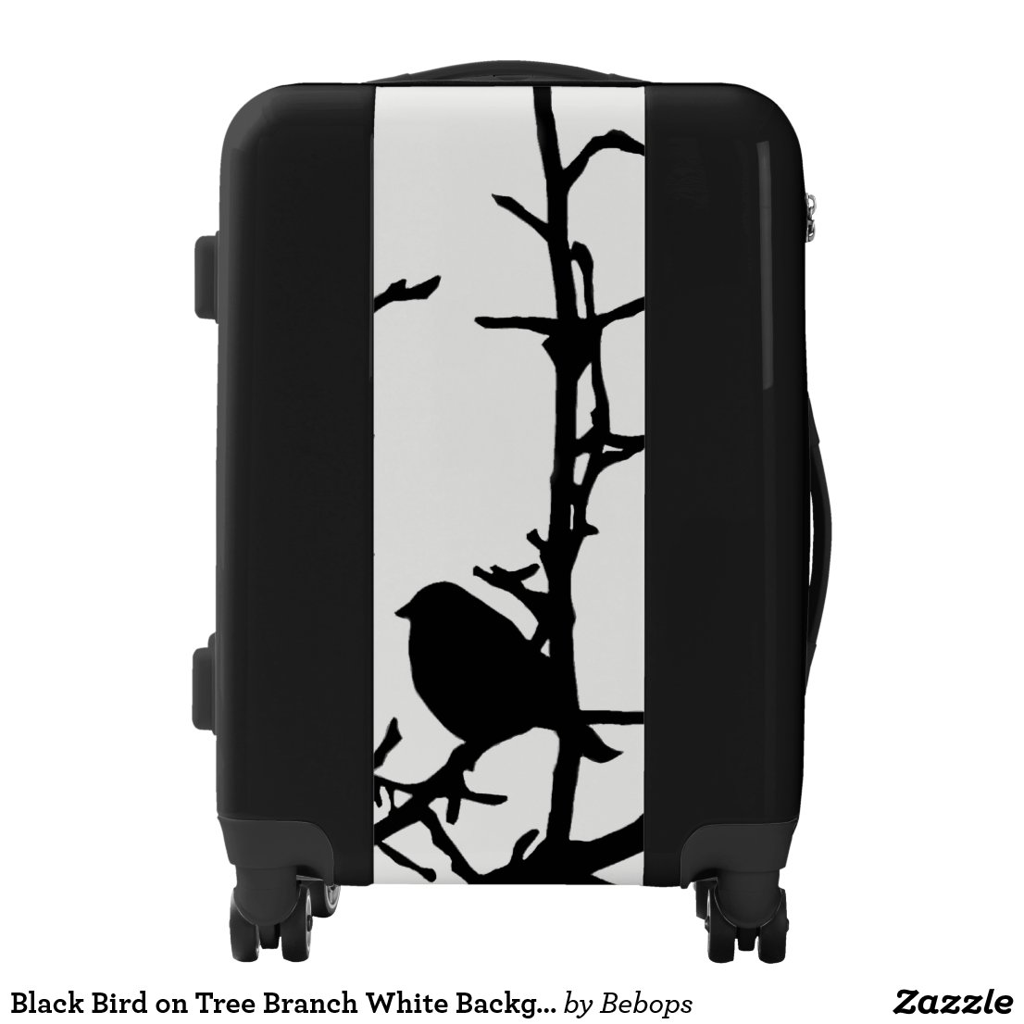 Black Bird on Tree Branch White Background Luggage