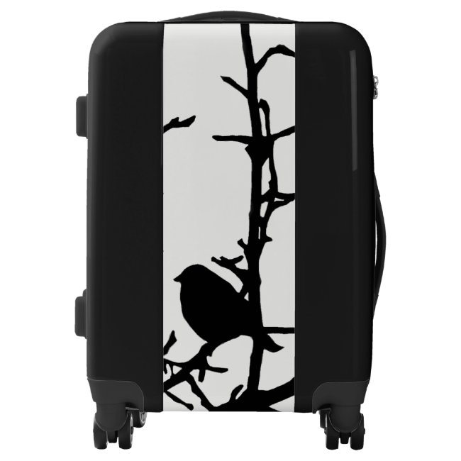 Black Bird on Tree Branch White Background Luggage