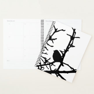 Black Bird on Tree Branches Animal Nature Planner