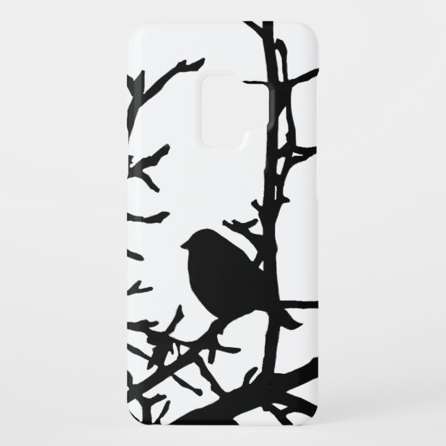 Black Bird on Tree Branches Galaxy S9 Case