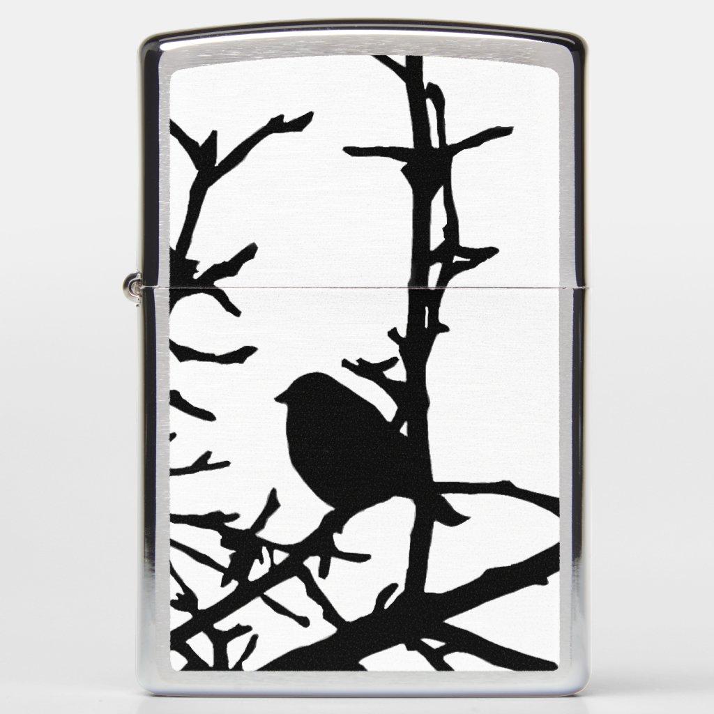 Black Bird on Tree Branches Zippo Lighter
