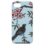 Black Bird Pink Cherry Blossom Tree Branches iPhone 5 Case