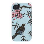 Black Bird Pink Cherry Blossom Tree Branches Case-Mate iPhone 4 Covers