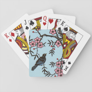 Black Bird Pink Cherry Blossom Tree Branches Deck Of Cards