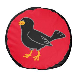 Black Bird Pouf Kids Chair Round Pouf