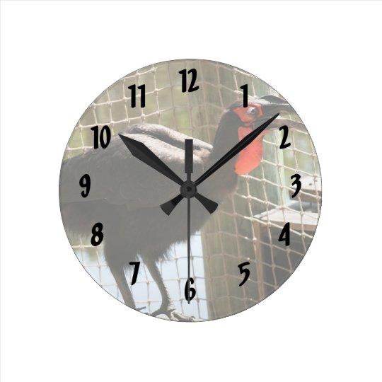 black bird red throat open mouth round clock