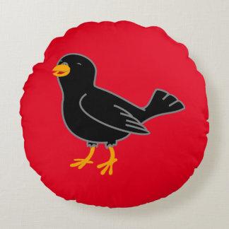 Black Bird Round Pillow