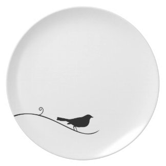 Black Bird Silhouette Black White Bird on Branch Melamine Plate