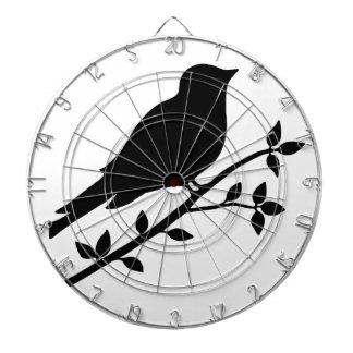 Black Bird Silhouette Dartboard With Darts