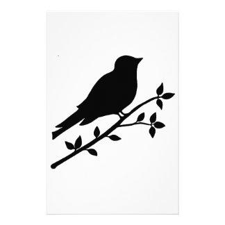 Black Bird Silhouette Stationery Paper