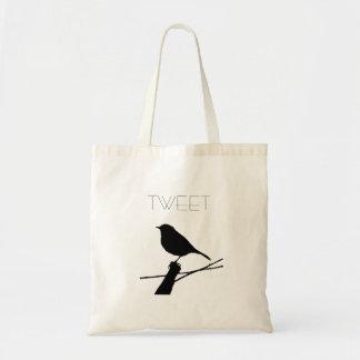 Black Bird Silhouette Tweet Tote Bag