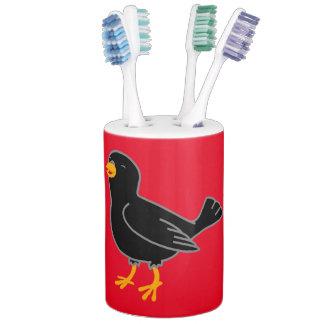 Black Bird Soap Dispenser & Toothbrush Holder Set