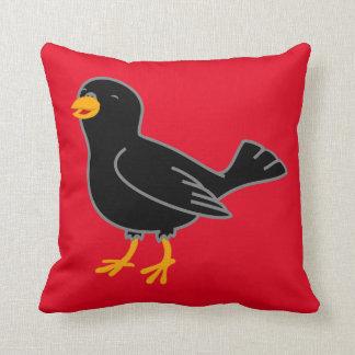 Black Bird Square Pillow
