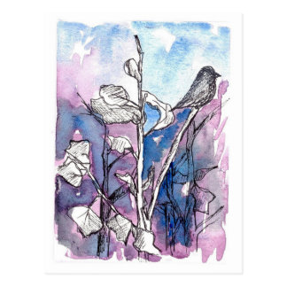 Black Bird Tree Leaves Winter Drawing Watercolor Postcard