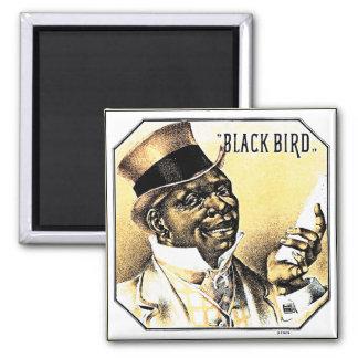 Black Bird Vintage Cigar Box Art 2 Inch Square Magnet