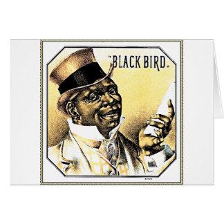 Black Bird Vintage Cigar Box Art Greeting Card