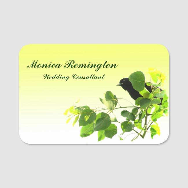 Black Bird Wedding Consultant Name Tag